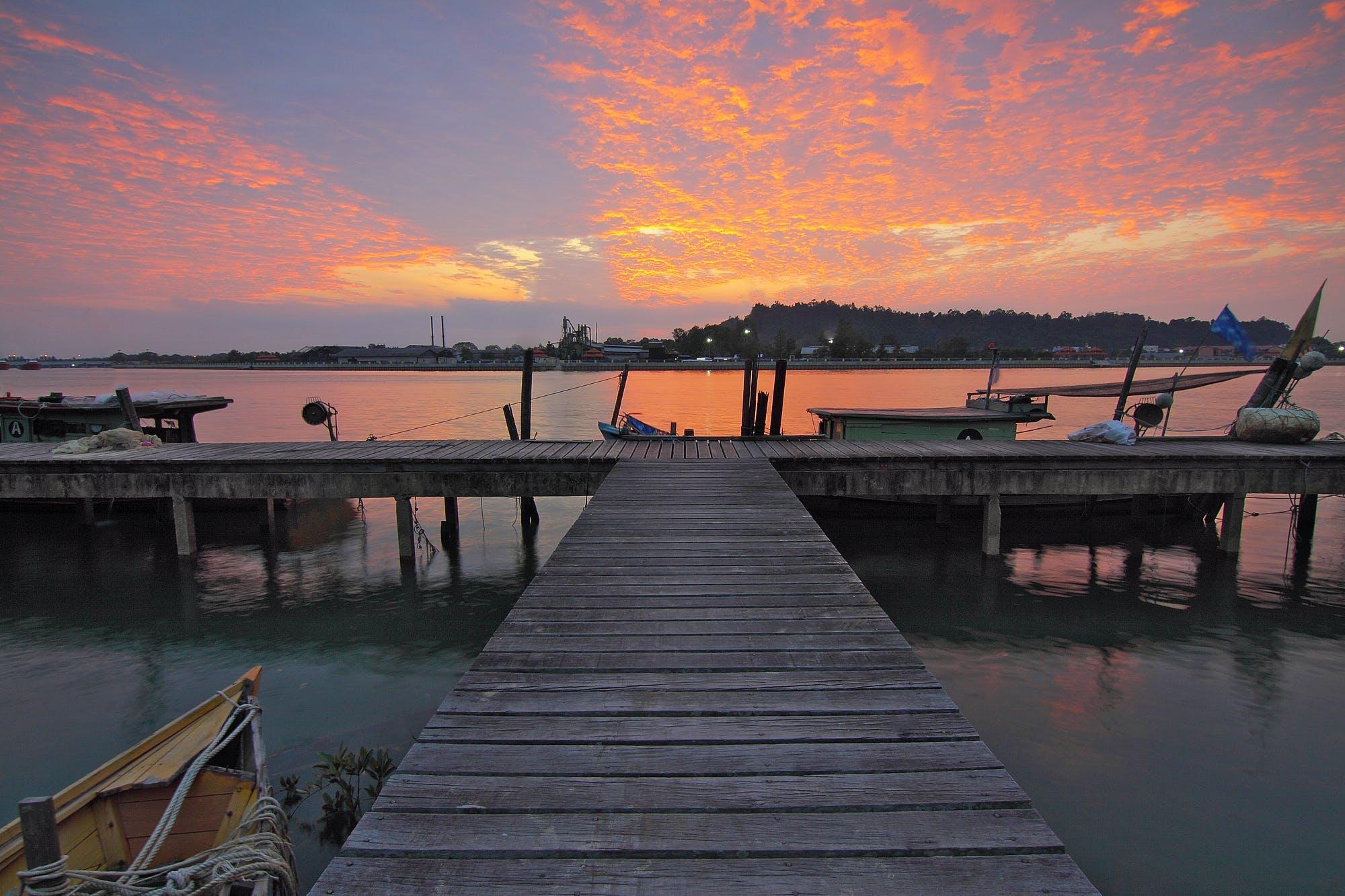 Brown Boat Dock