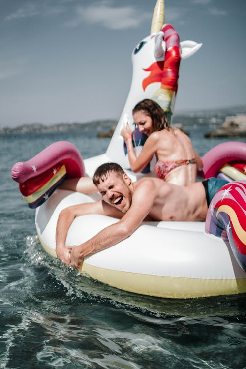 Couple Riding Unicorn Inflatable Floater