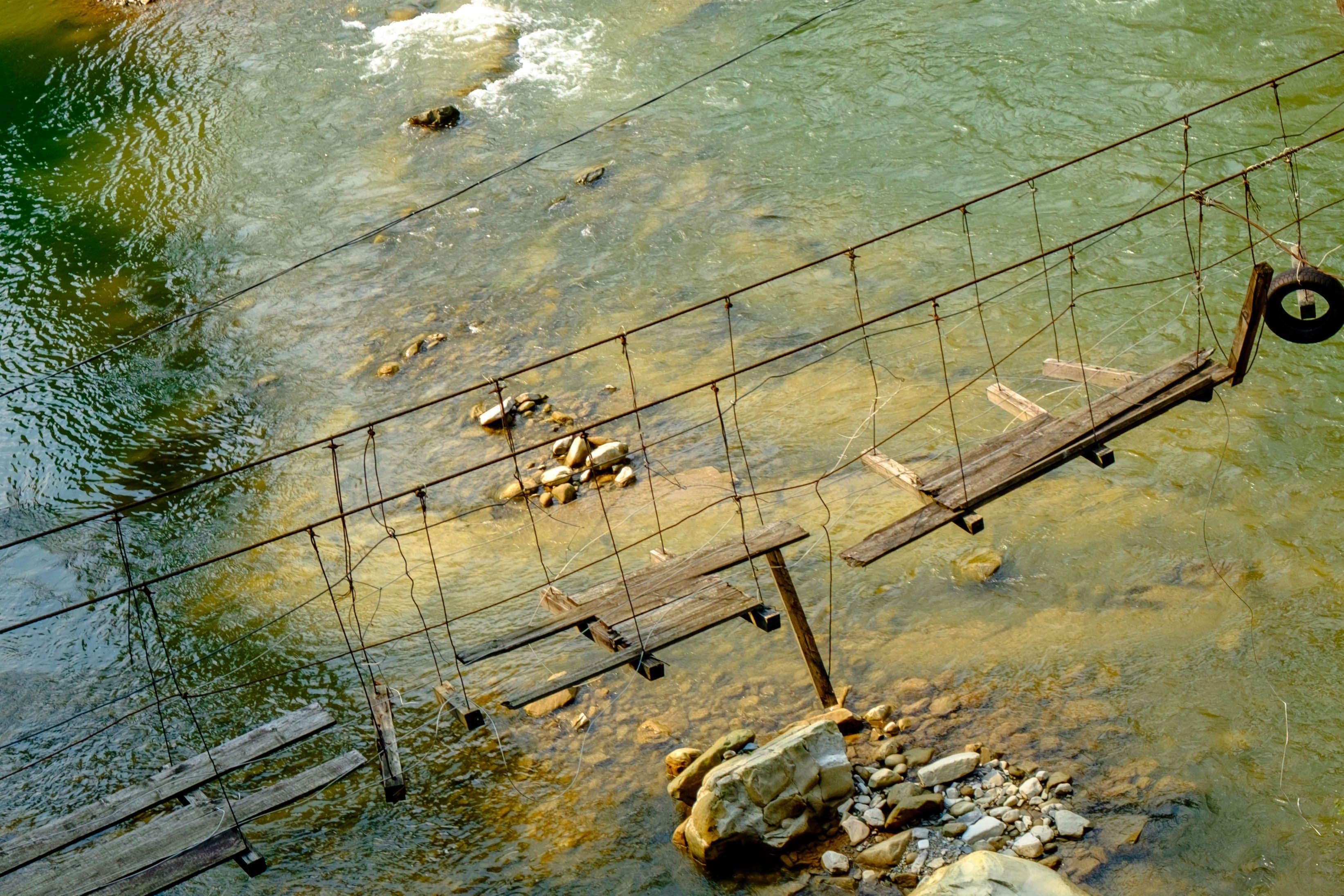 Free stock photo of blue water, bridge, green, planks