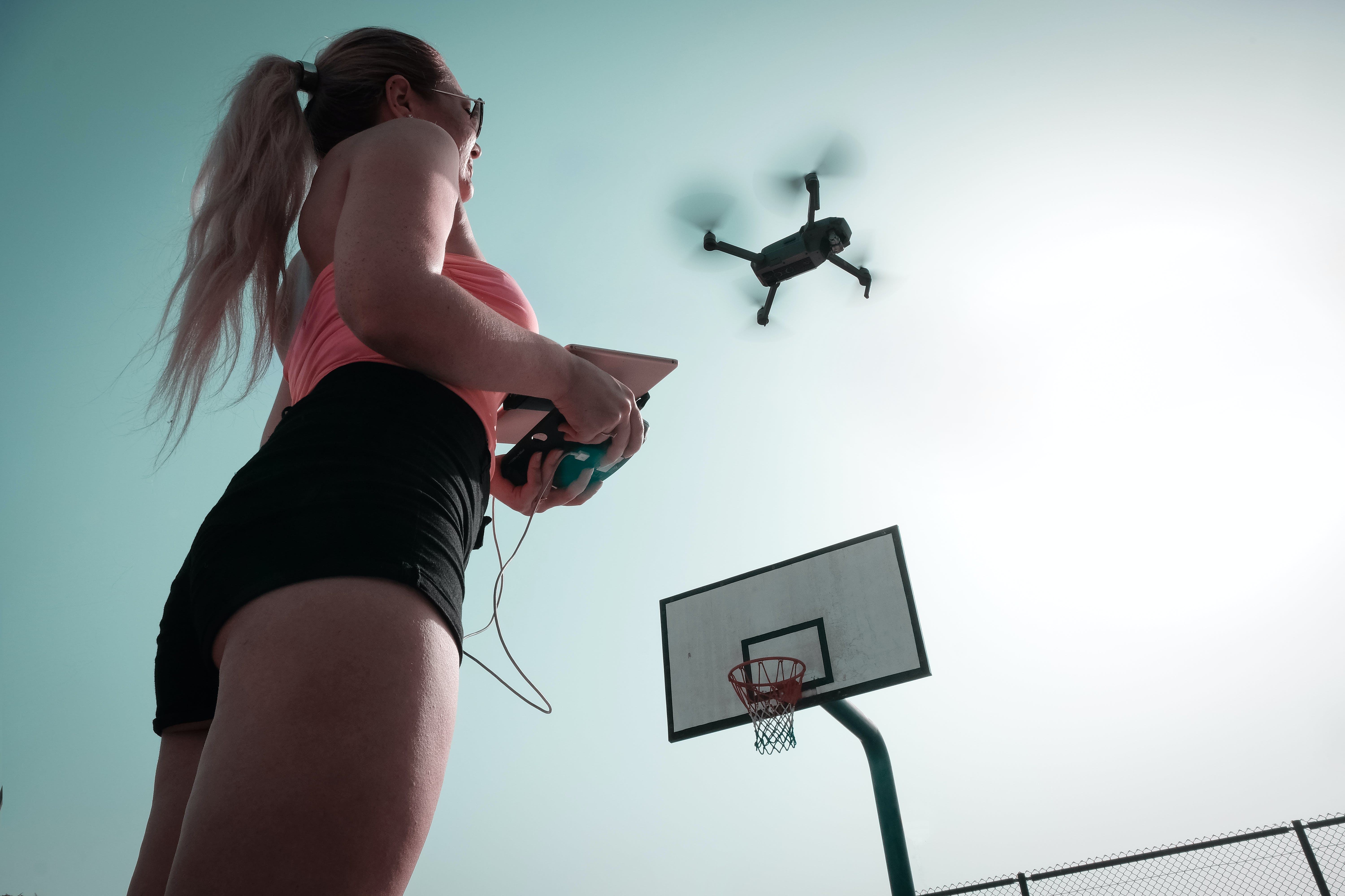 Free stock photo of person, flying, woman, camera