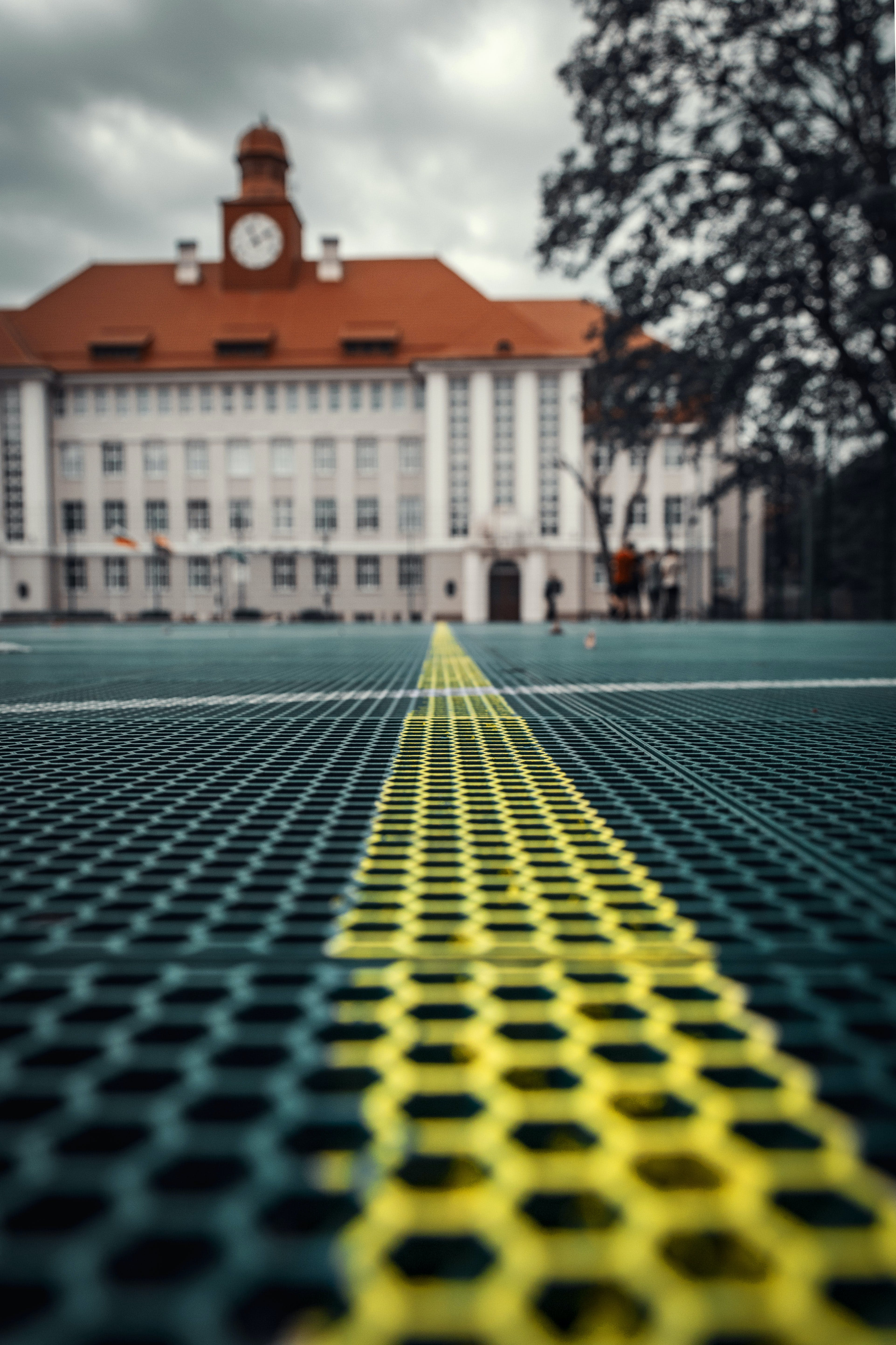 Selective Focus of Yellow Pavement