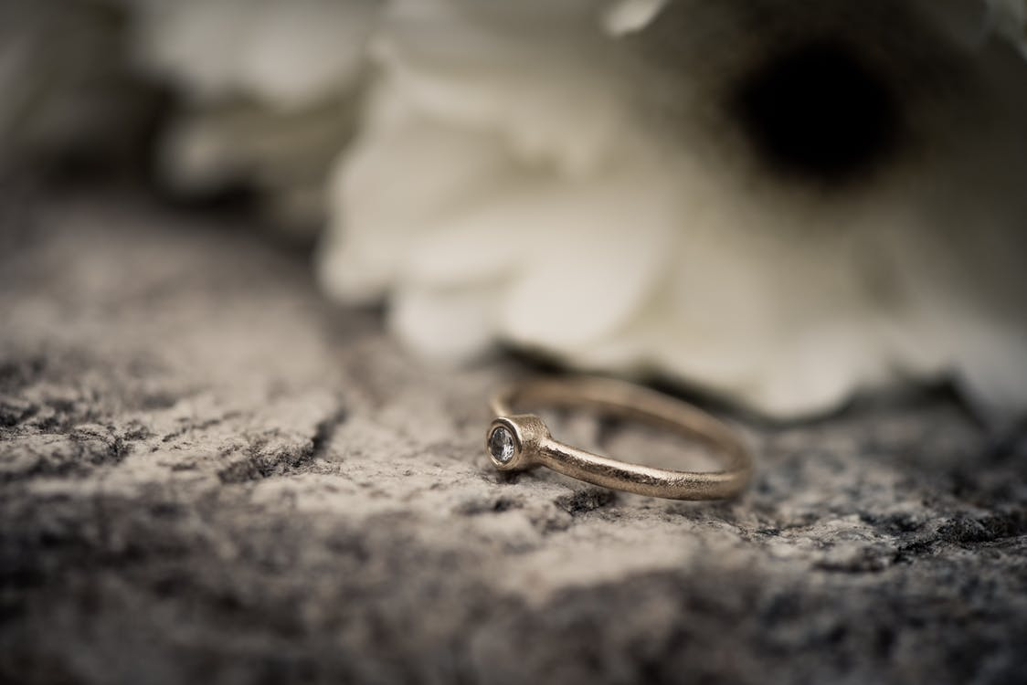 Selective Focus Photography Of Silver Ring
