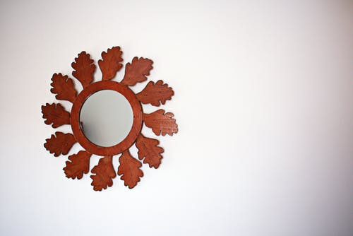 Mirror With Brown Wooden Frame