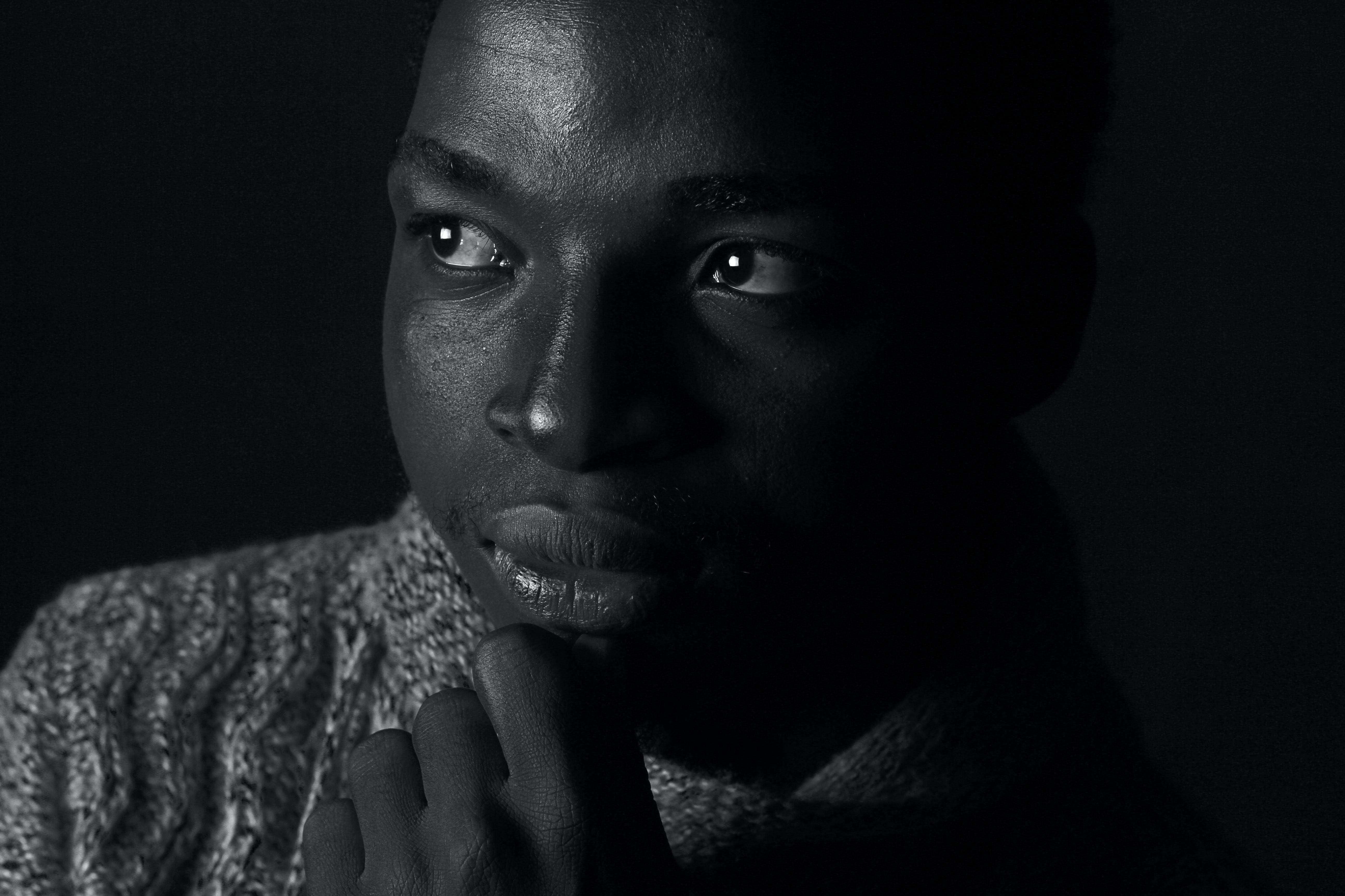 Grayscale Portrait Photo a Man