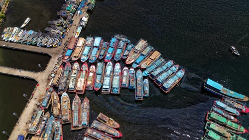 Aerial Photography of Fishing Boats