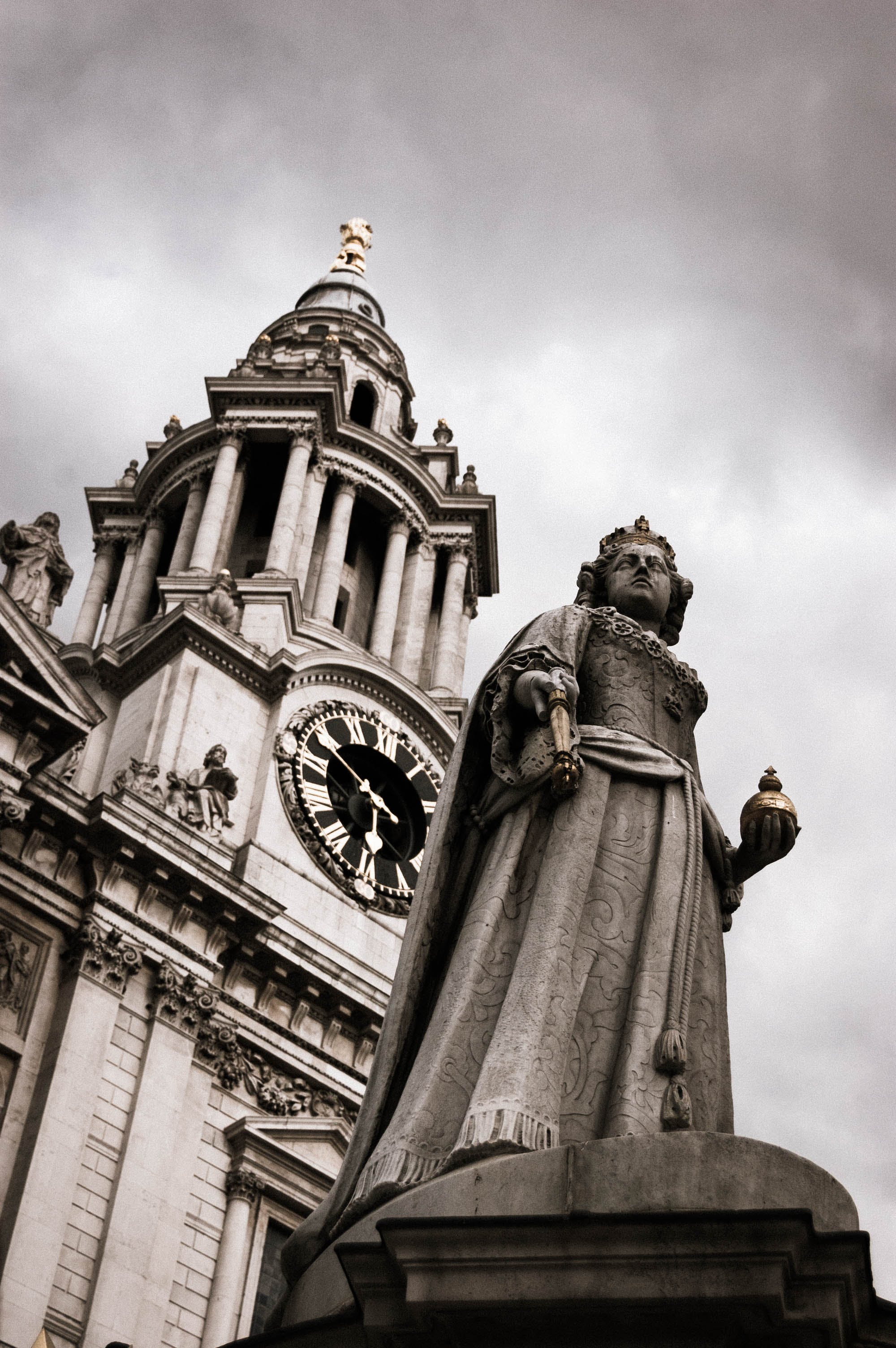 Grayscale Photography of Church Statue