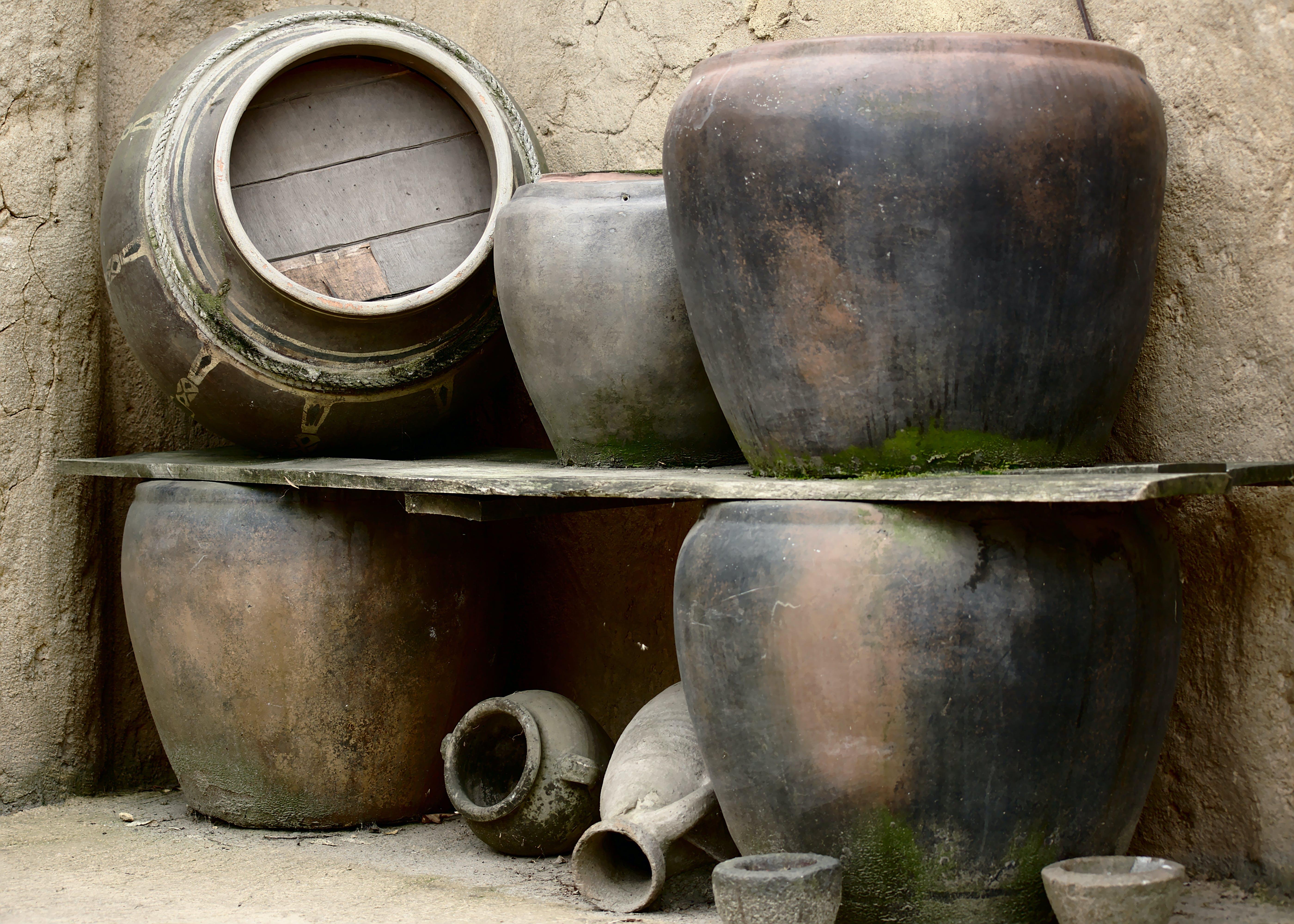 Free stock photo of pots, stone pots