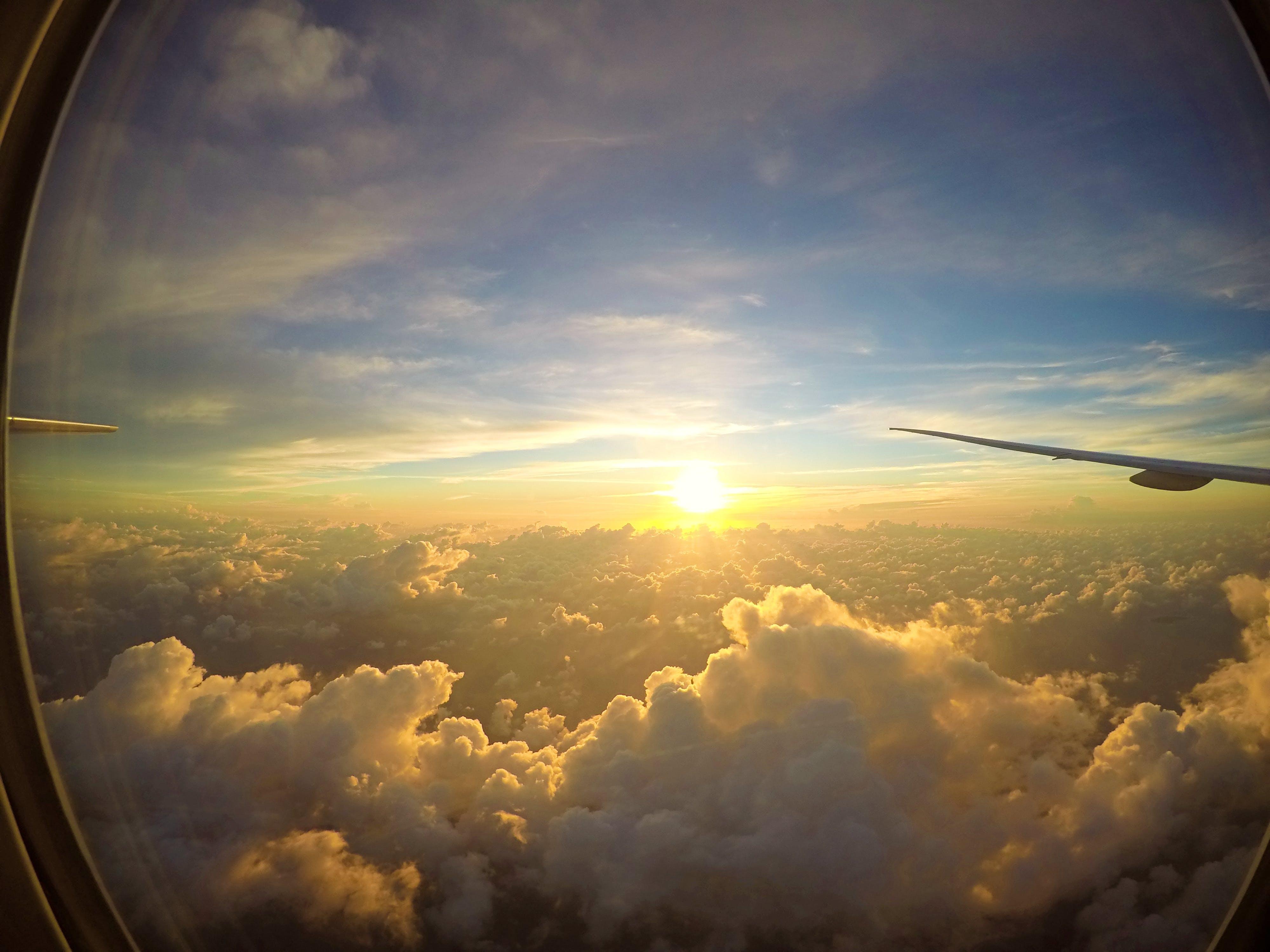 Free stock photo of aircraft, orange sky, sunrise