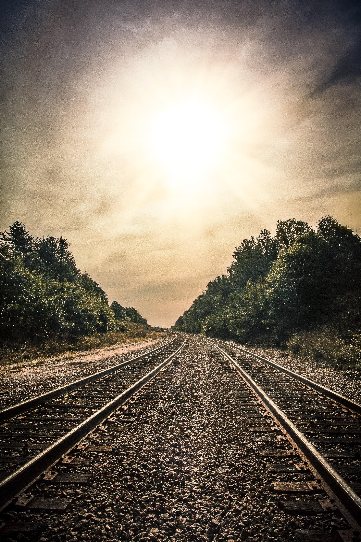 Free stock photo of railroad tracks, sun, Sun Rays