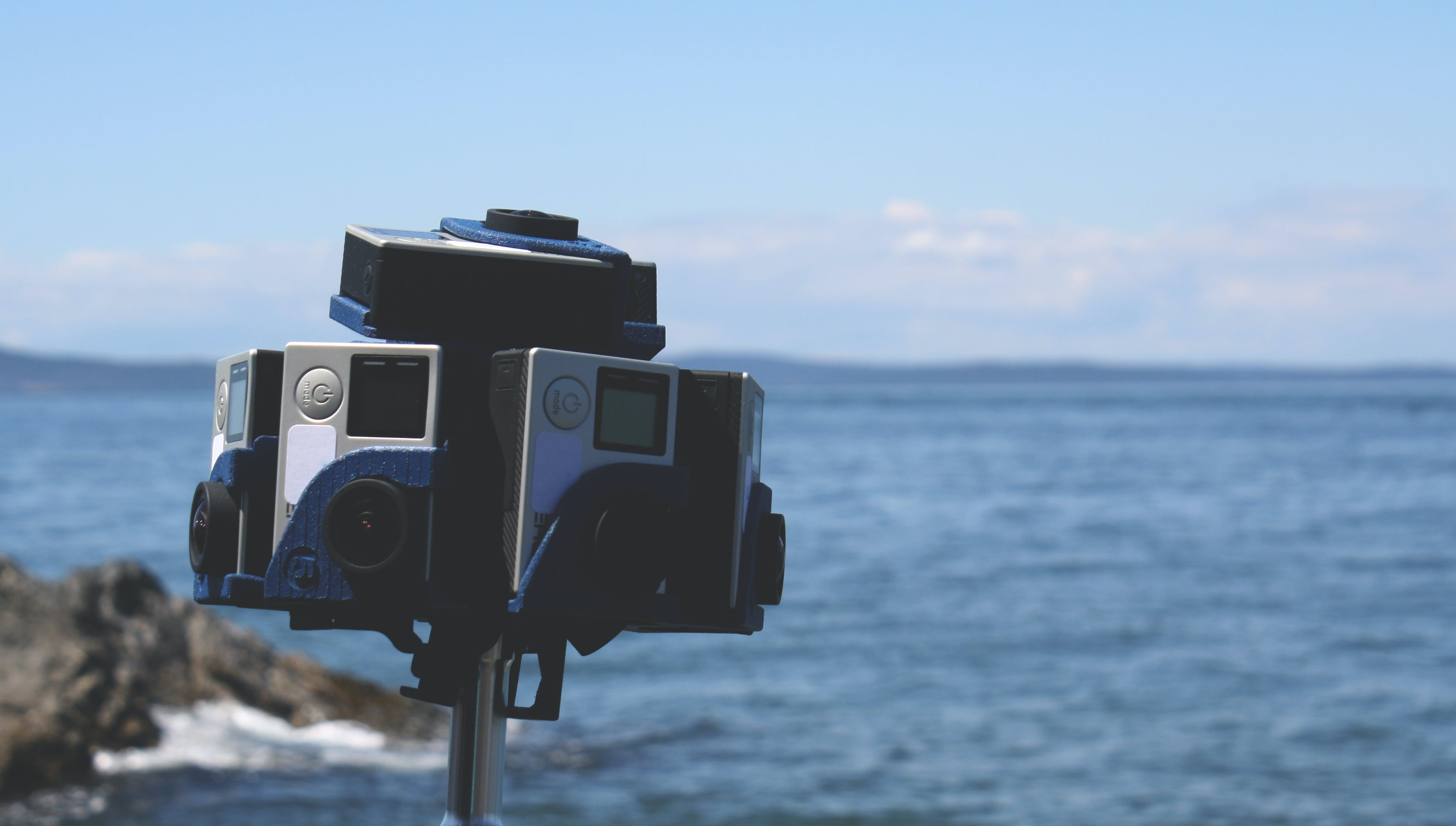 Free stock photo of cameras, gopro, mount, vr