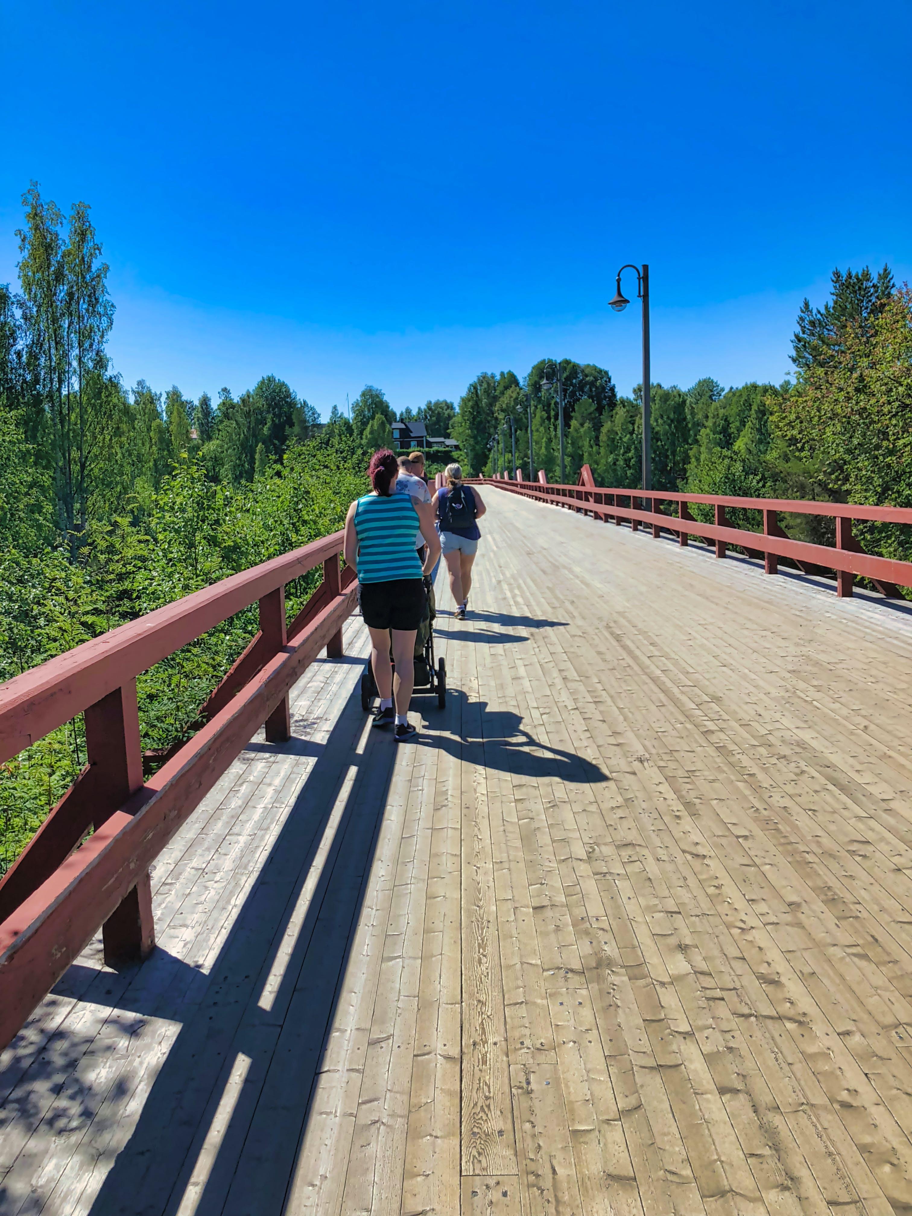Free stock photo of wood, sun, bridge, blue skies