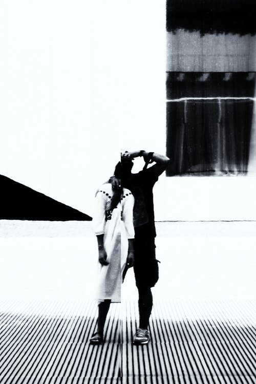 Free stock photo of black and white, couple, distortion