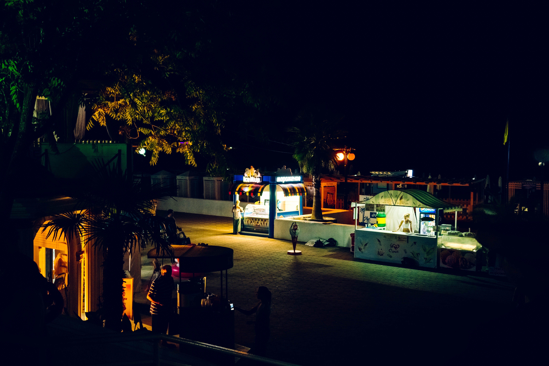 Food Stalls At Night Time