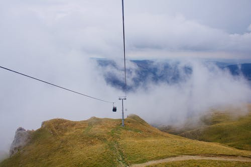 Cable Car Under White Clouds