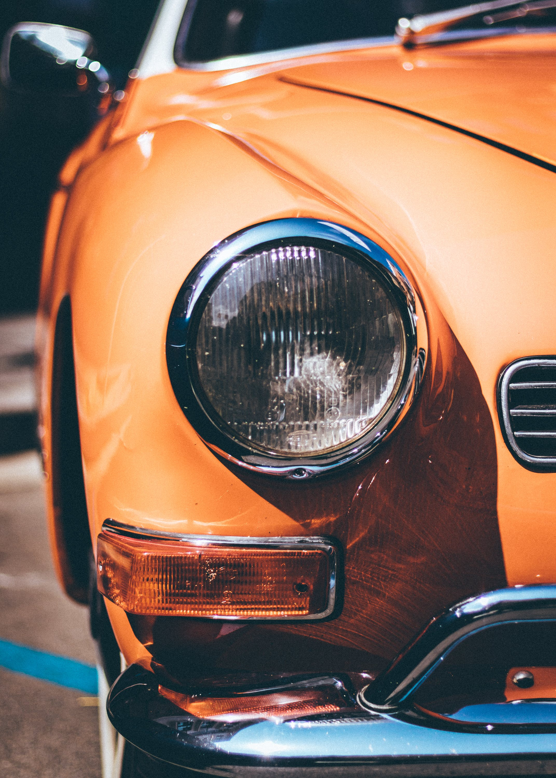 Close-Up Photography of Orange Vintage Car