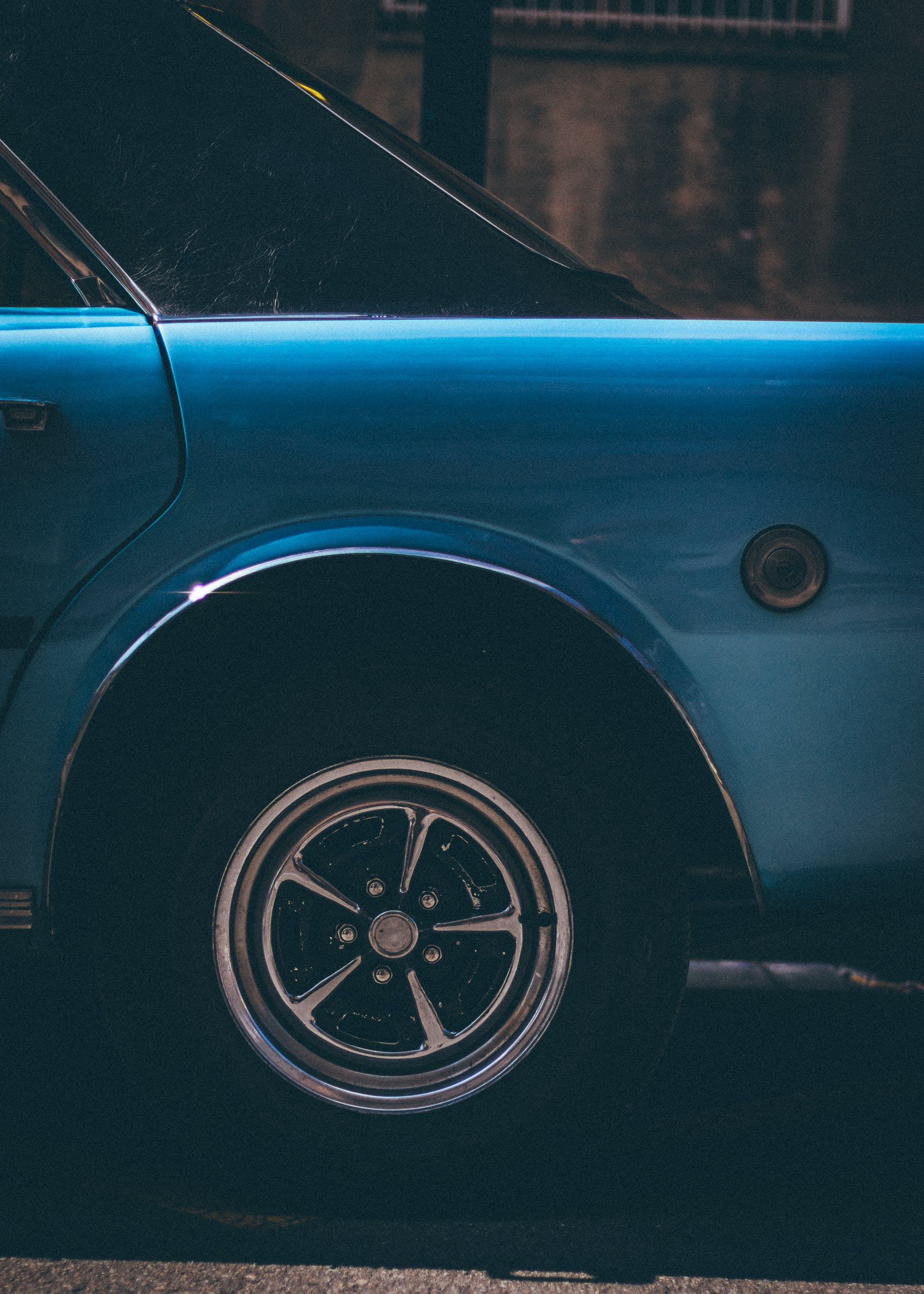 Blue Classic Car With Gray 5-spoke Wheel and Tire