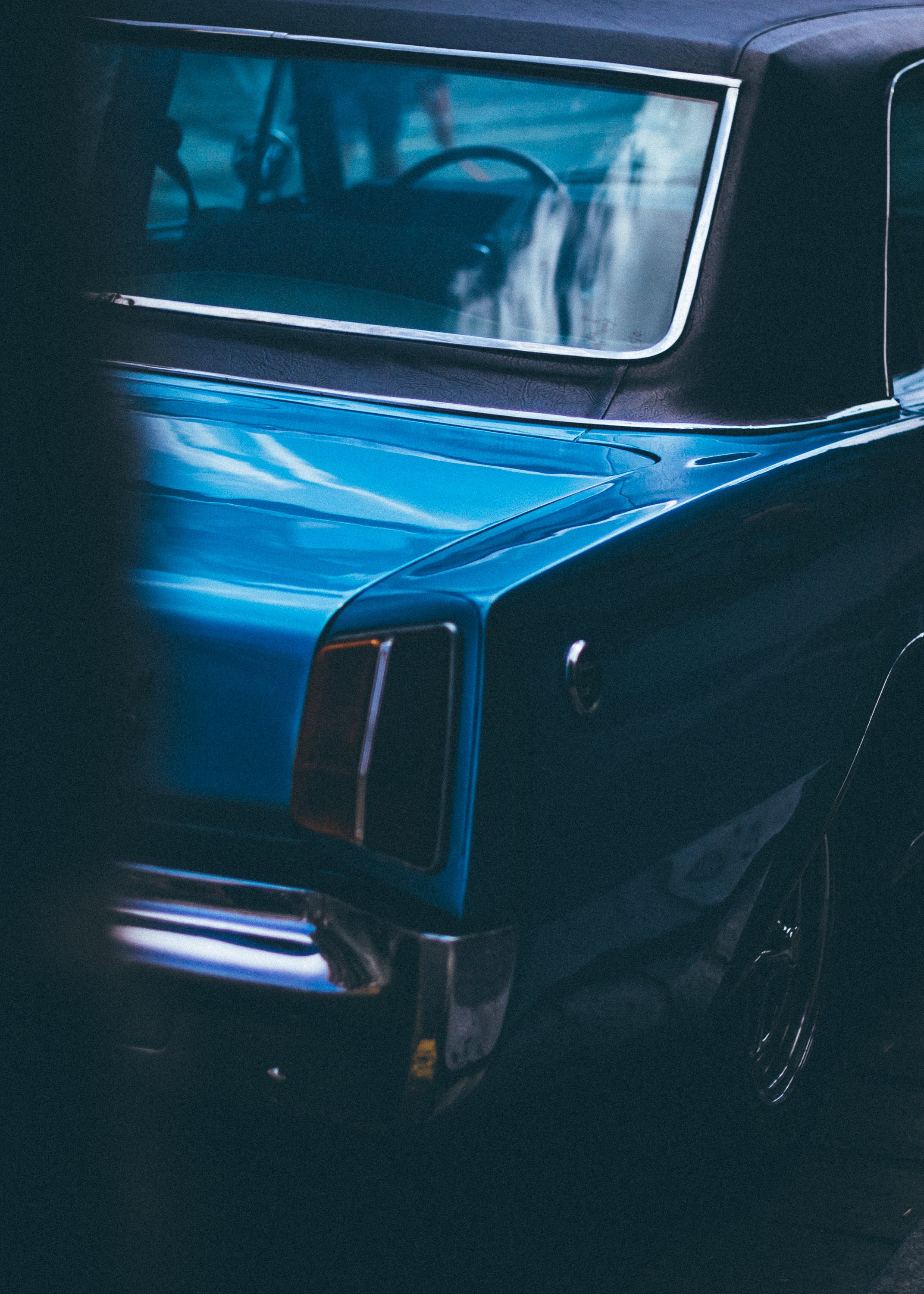 Classic Blue Vehicle Parked