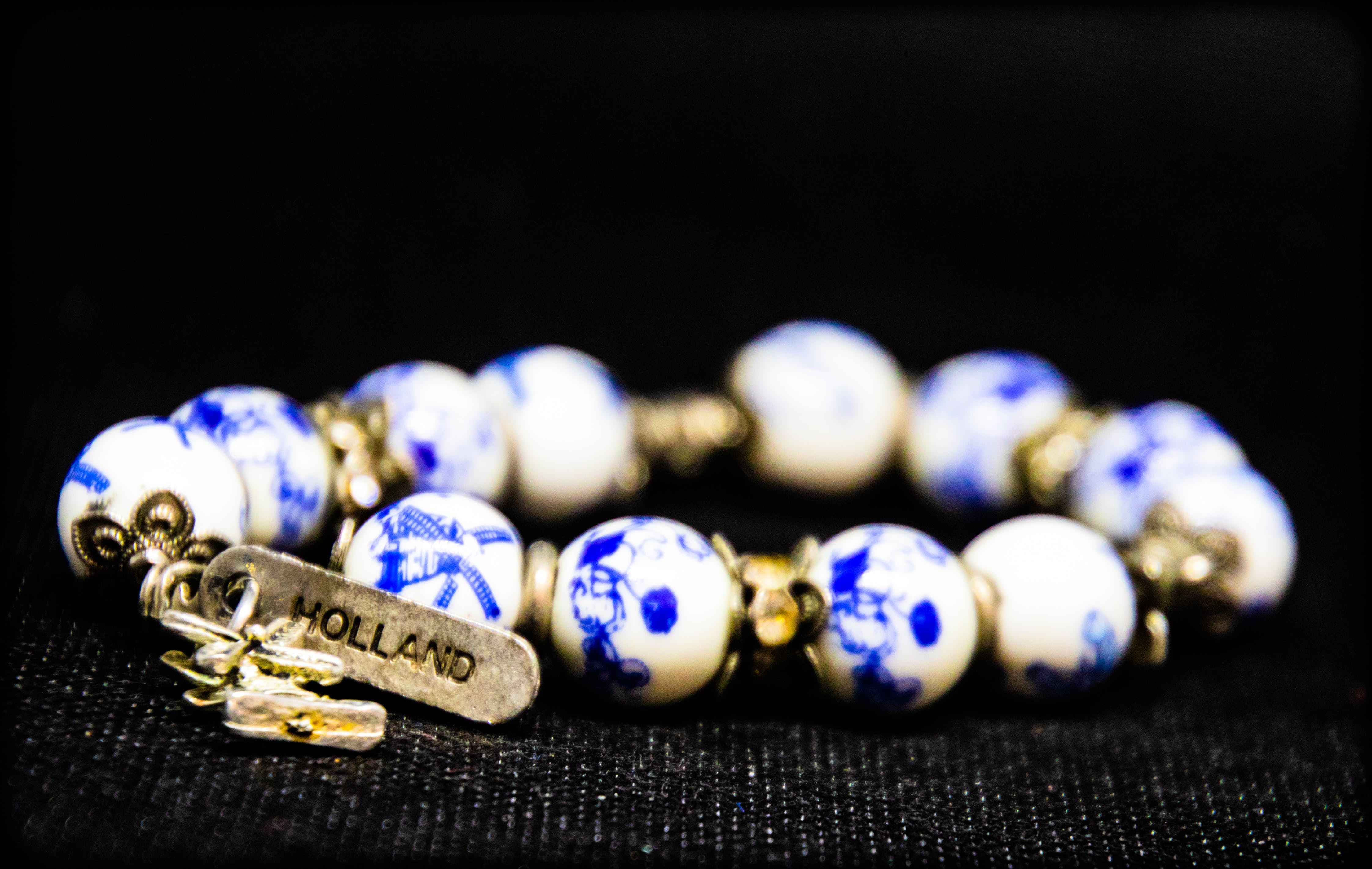 Free stock photo of bangle, blue and white, Holland, jewellery