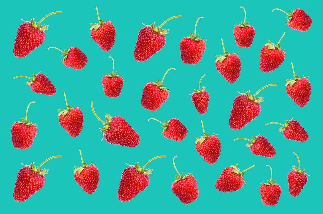 Red Strawberries Digital Wallpaper