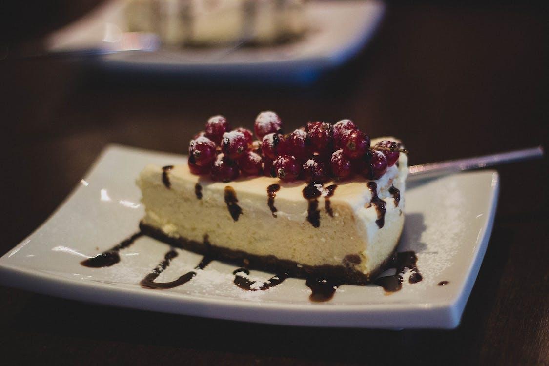 White Chocolate Cake on White Ceramic Plate