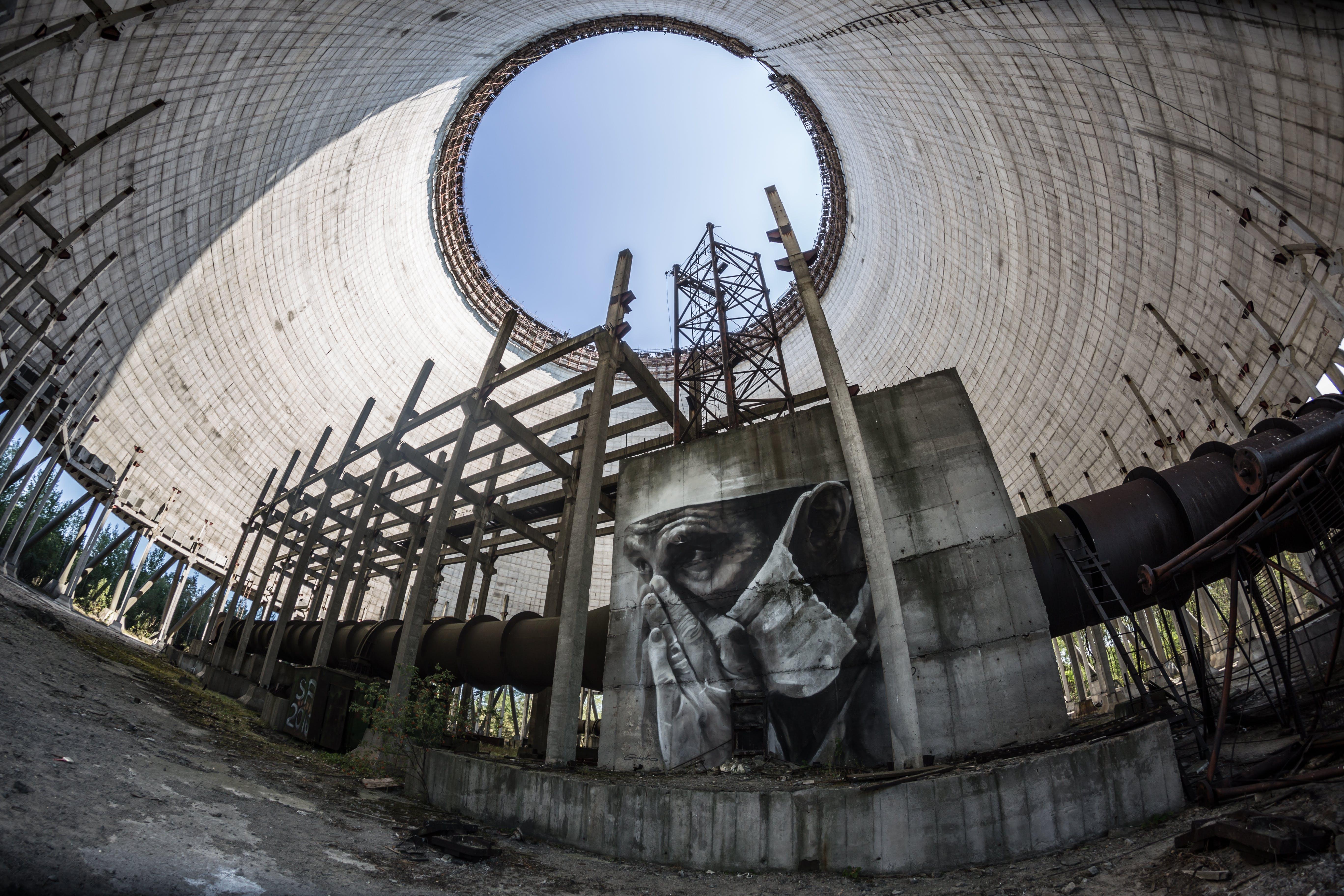 Man in Mask Graffiti on Wall