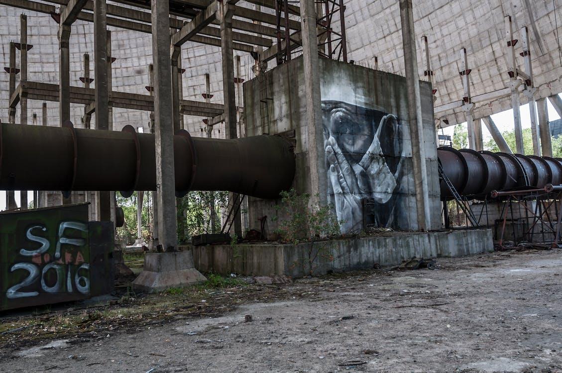 abandonat, beton, clădire