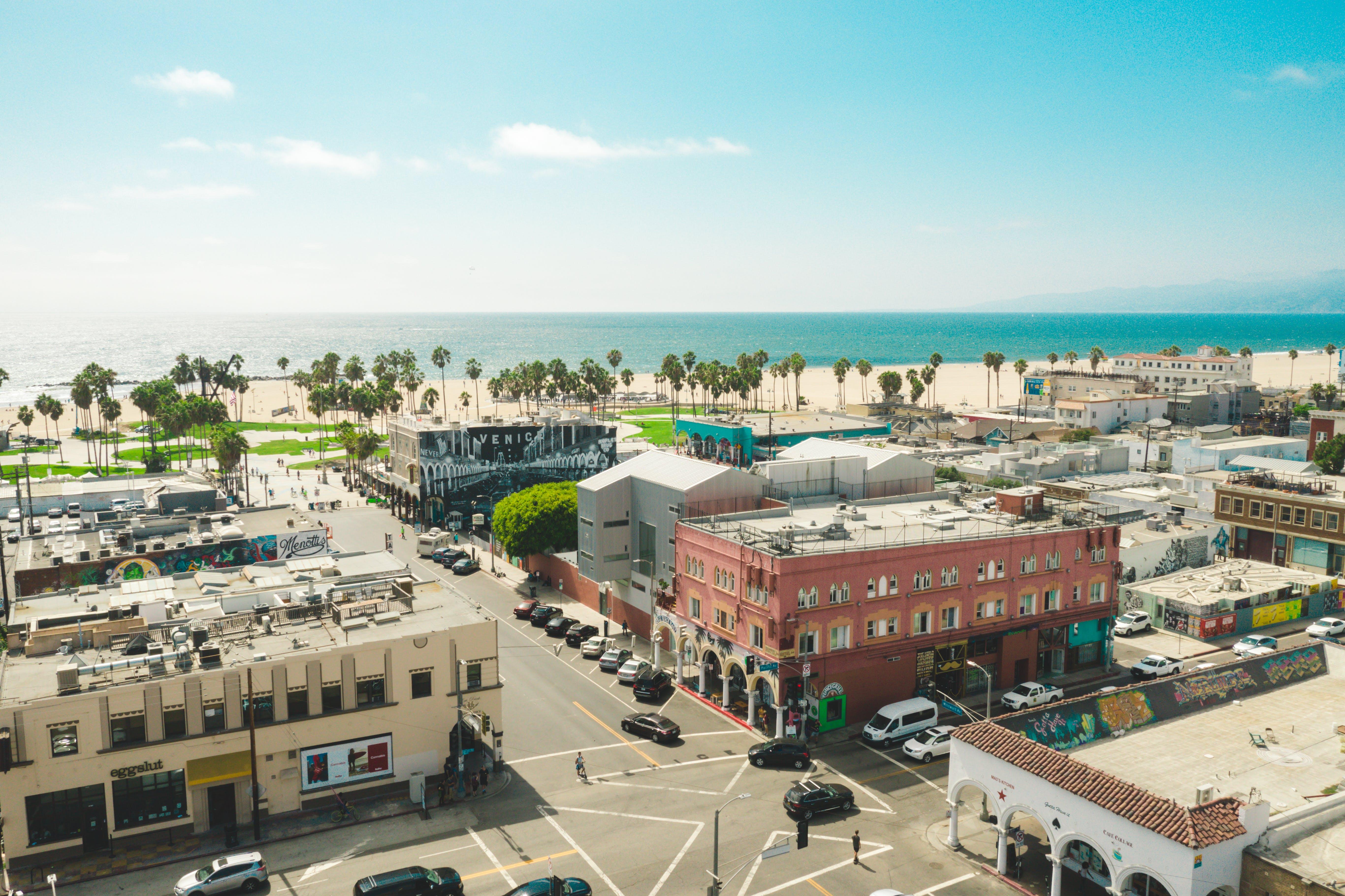 Aerial View Of Concrete Buildings Near Ocean