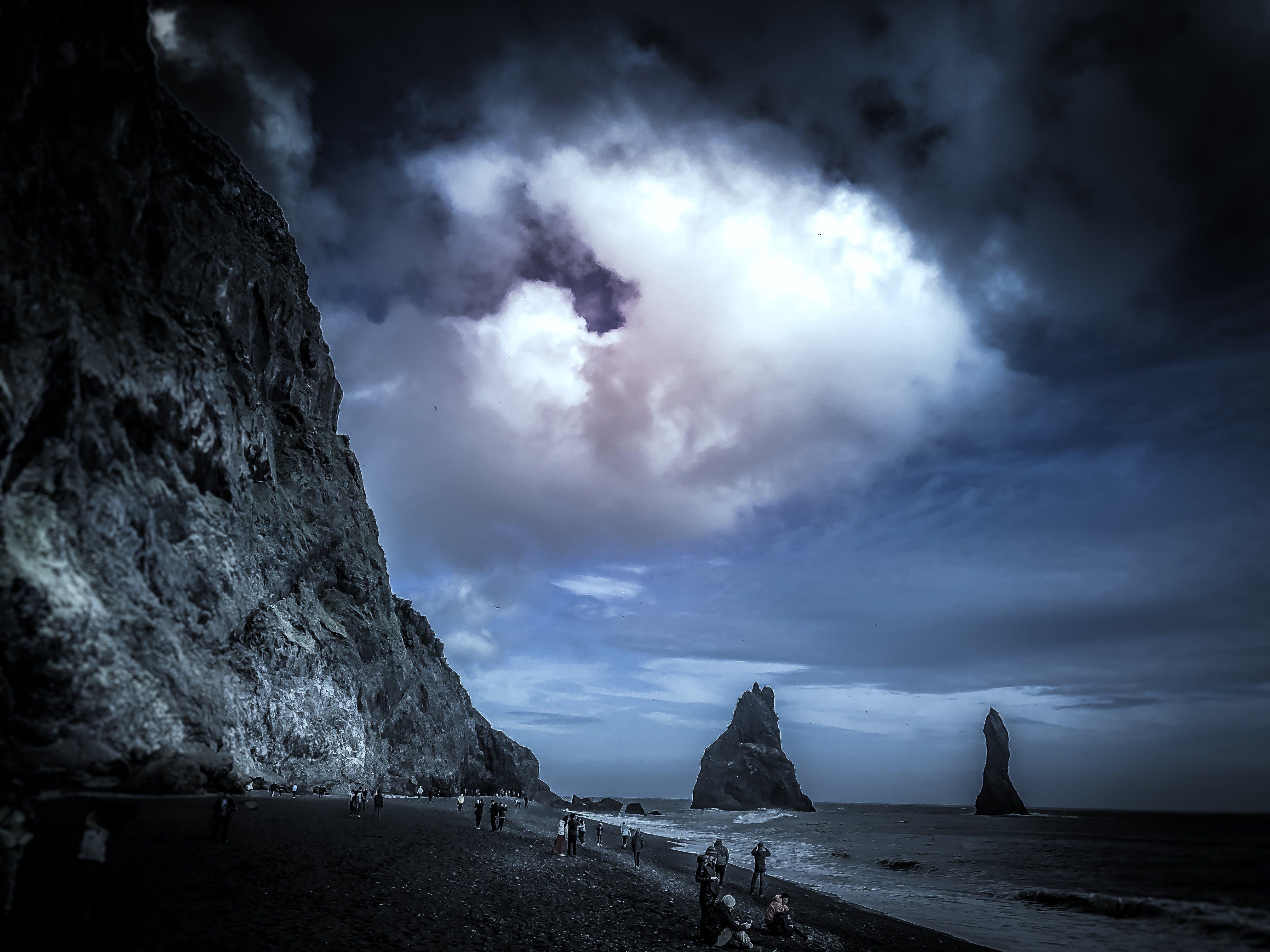 Free stock photo of beach, clouds, dark blue, deep ocean