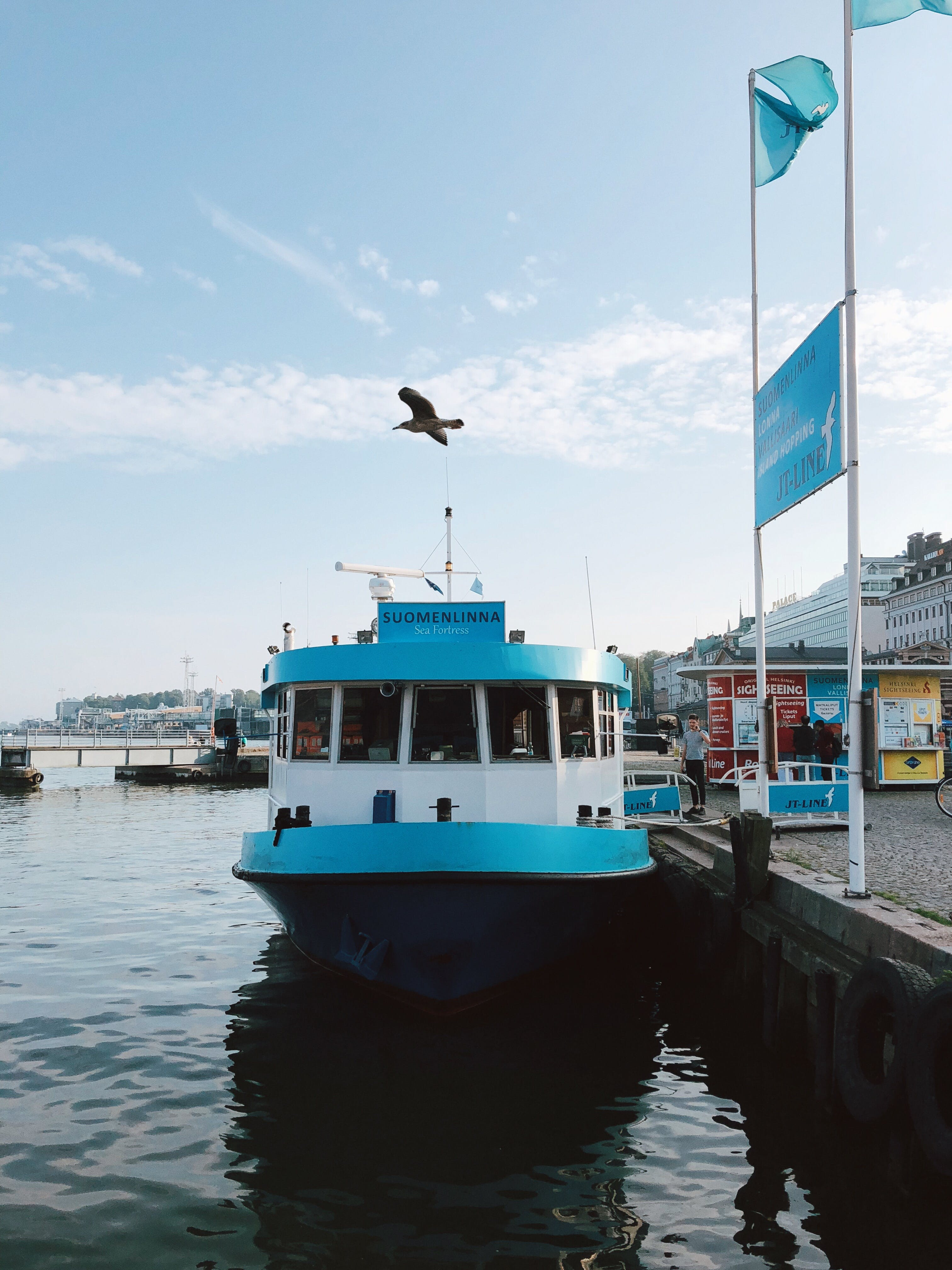 White and Teal Boat in Body of Water
