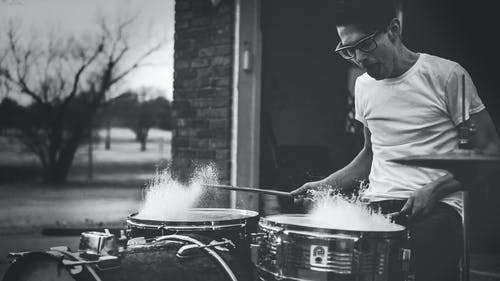 Free stock photo of black-and-white, drums, man, music