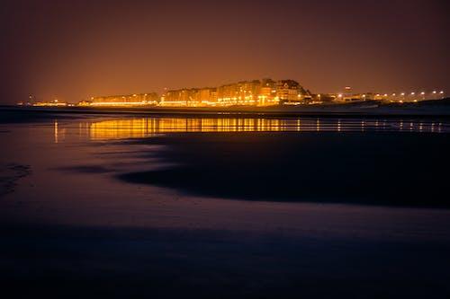 ビーチ, ベルギー, 夜の写真の無料の写真素材