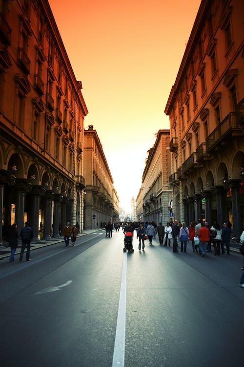 People in Middle of Street Under Orange Sky