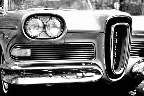 Classic Car in Grayscale Photography