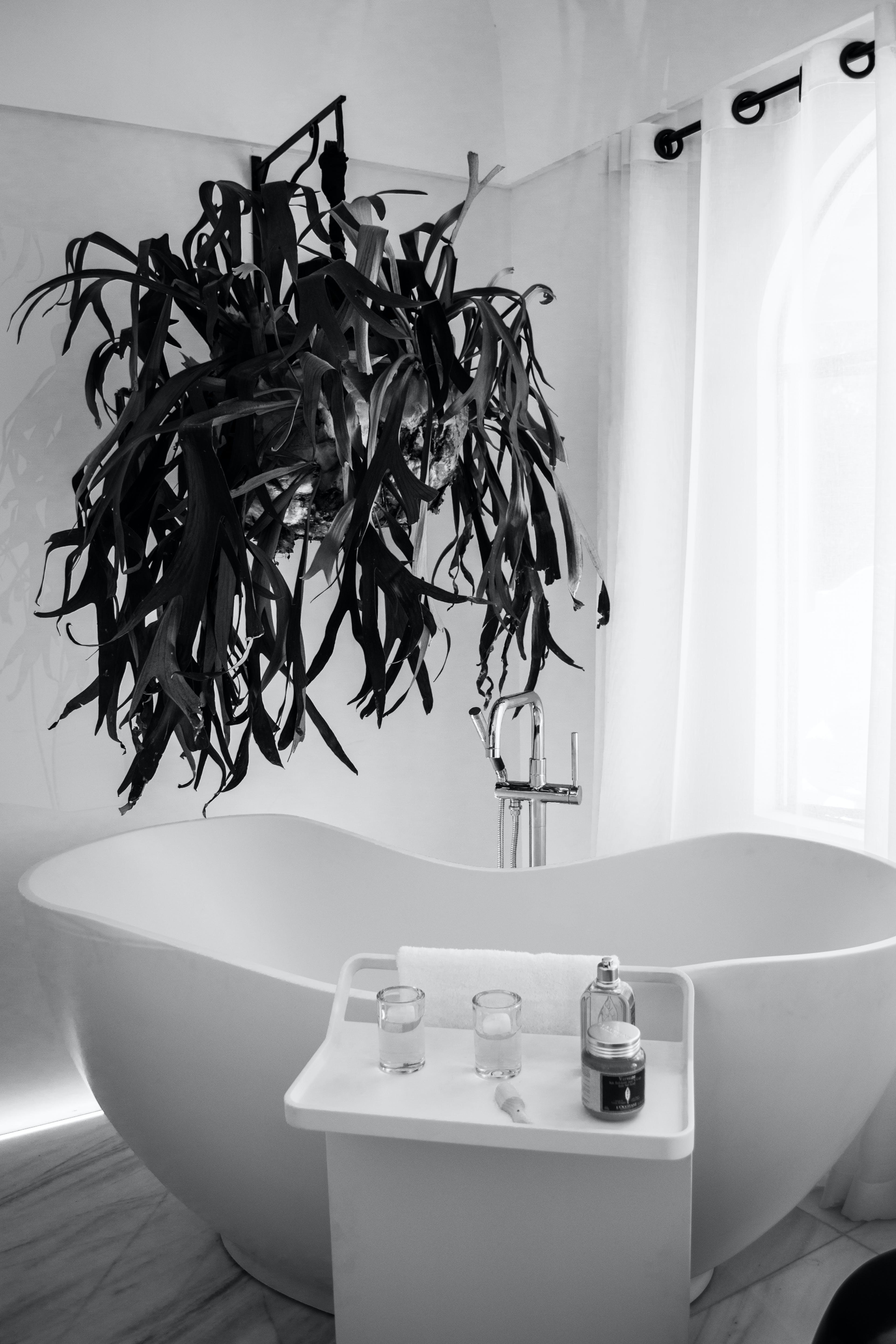 Grayscale Photography of Bathtub Near Window