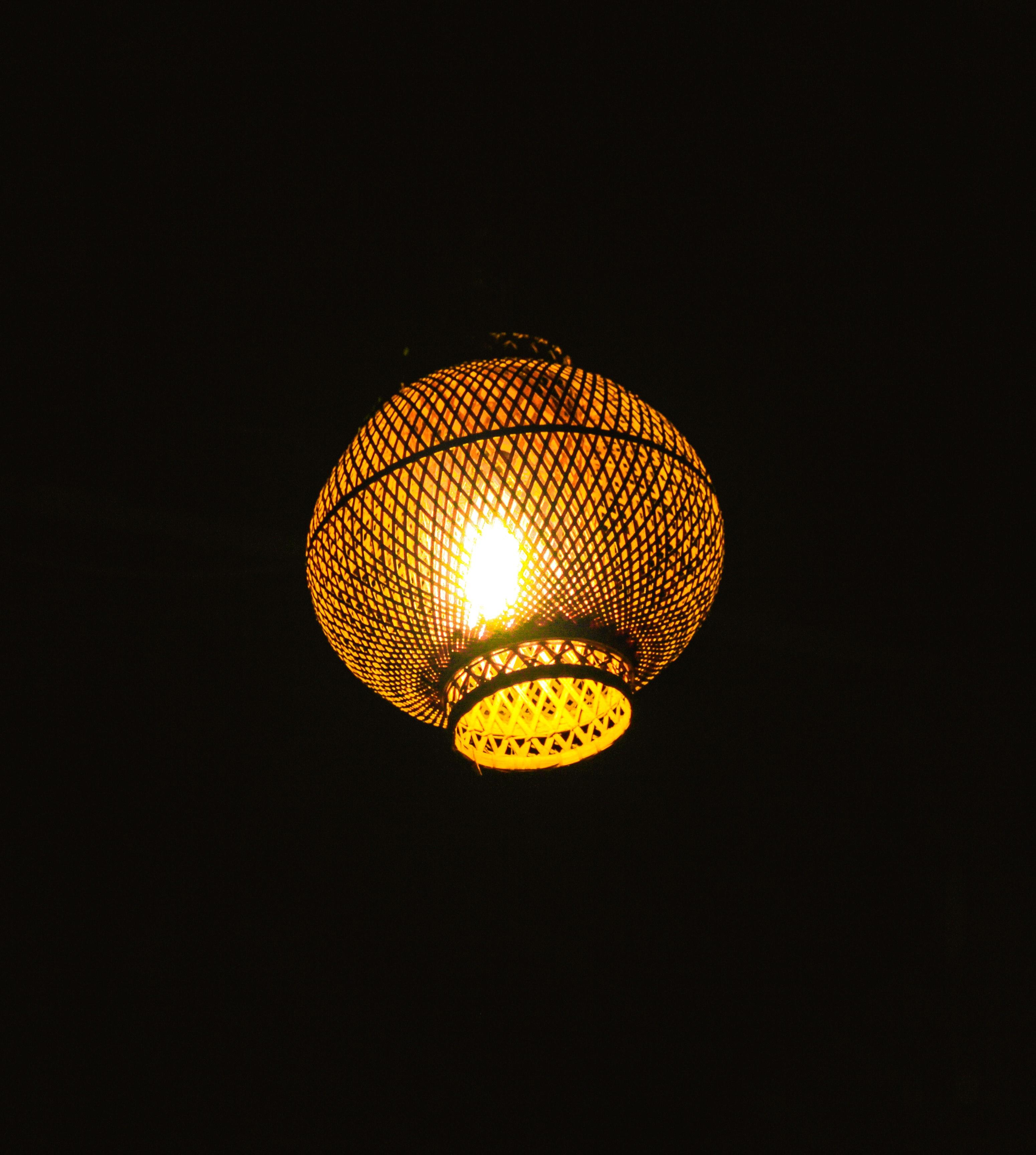 Free Stock Photo Of Golden Lamp In The Dark Light