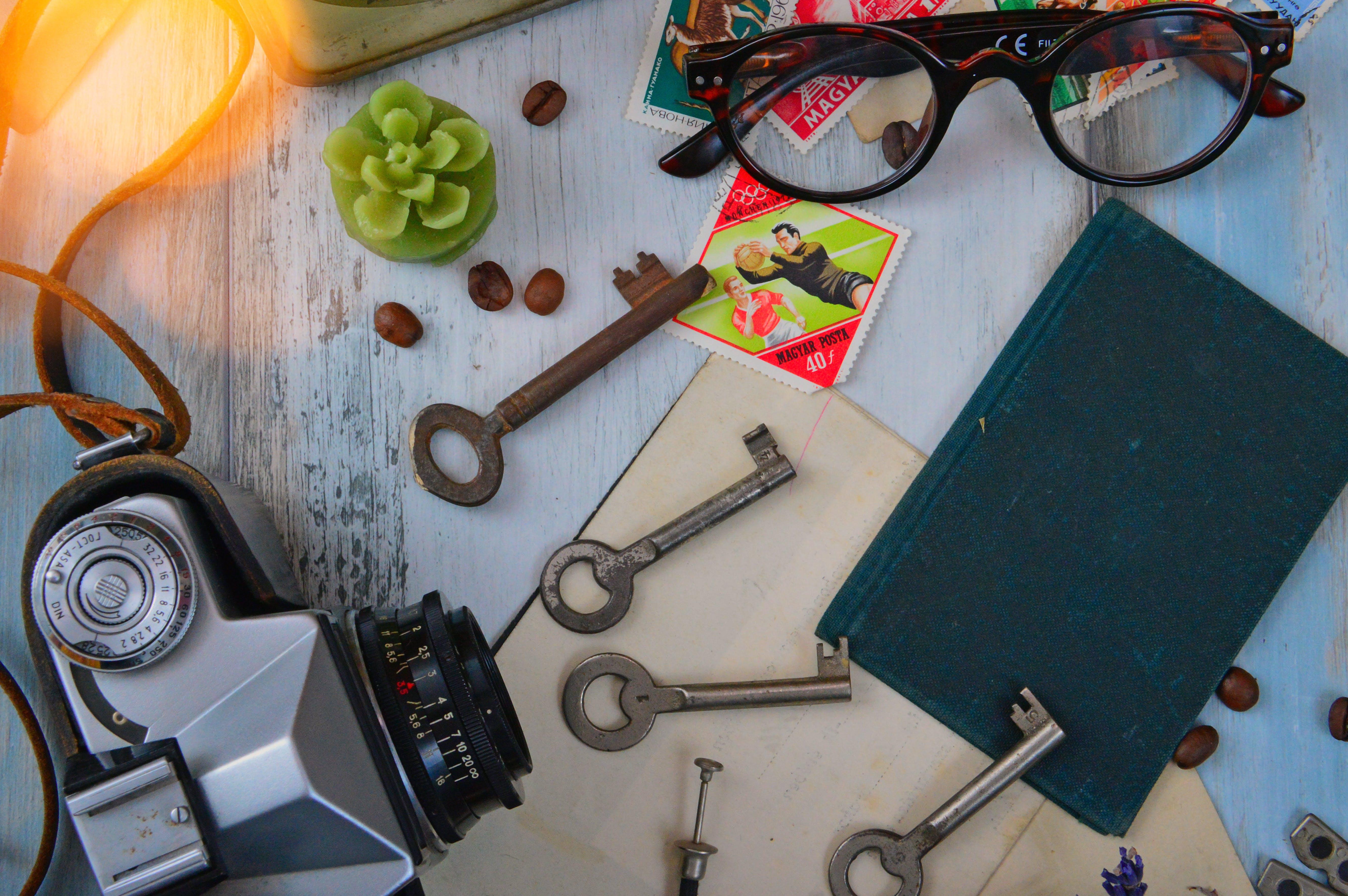 Four Gray Skeleton Keys Next to Gray Camera, Black Book, and Brown Framed Eyeglasses