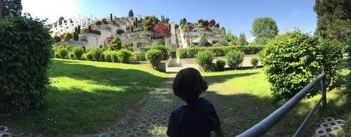 Foto profissional grátis de arquitetura contemporânea, arquitetura moderna, campo verde, céu