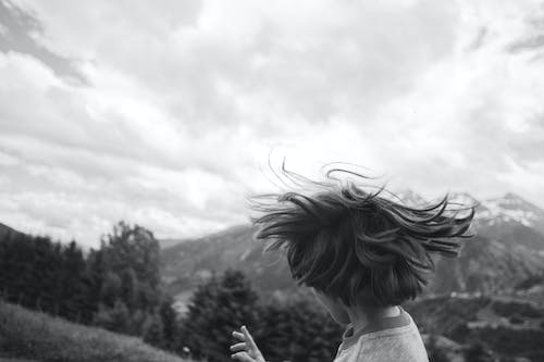 Free stock photo of baby, black and white, boy, cloudy sky