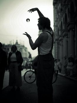 Free stock photo of black-and-white, man, person, street art