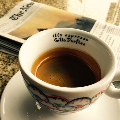 Free stock photo of coffee, espresso, illy, newspaper