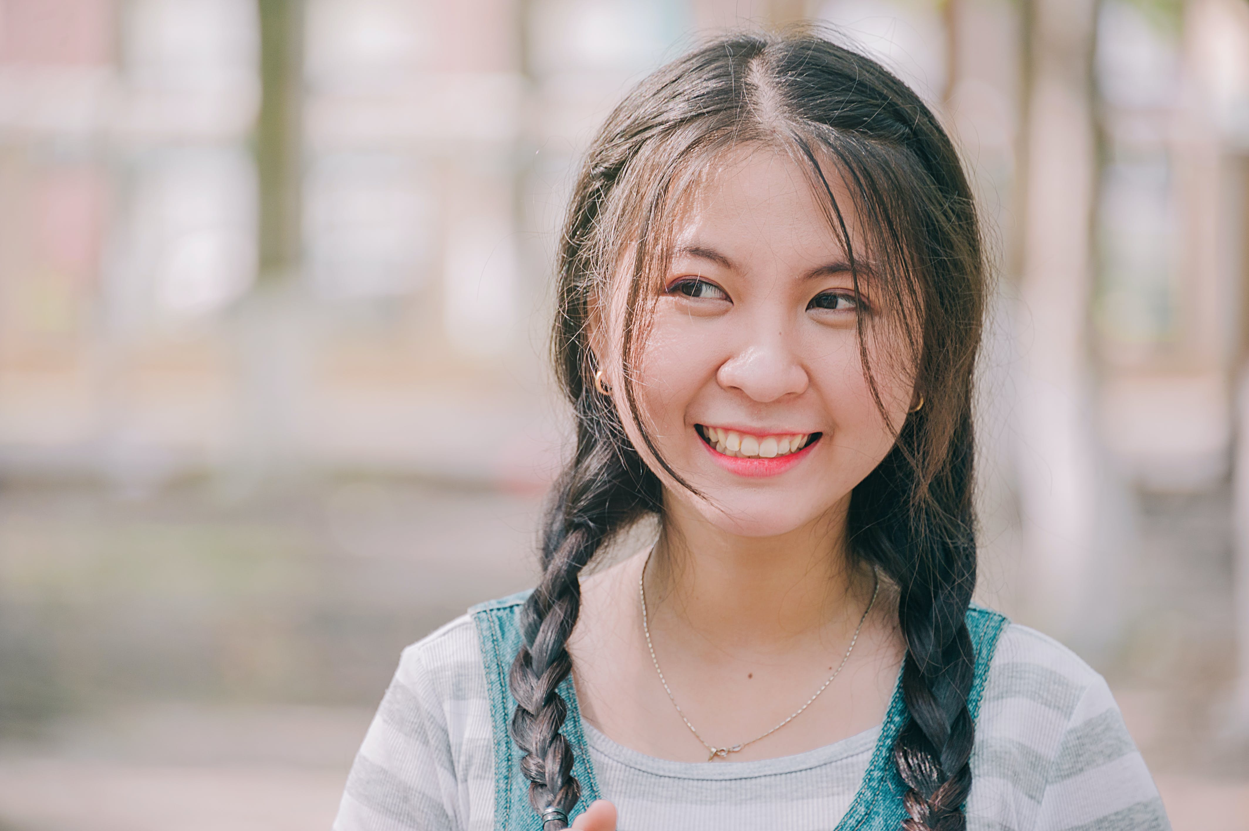 Selective Focus of Girl Smiling