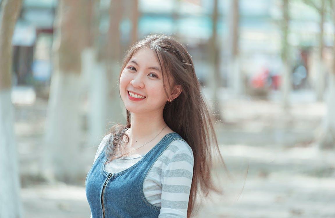 afslappet, asiatisk kvinde, casual