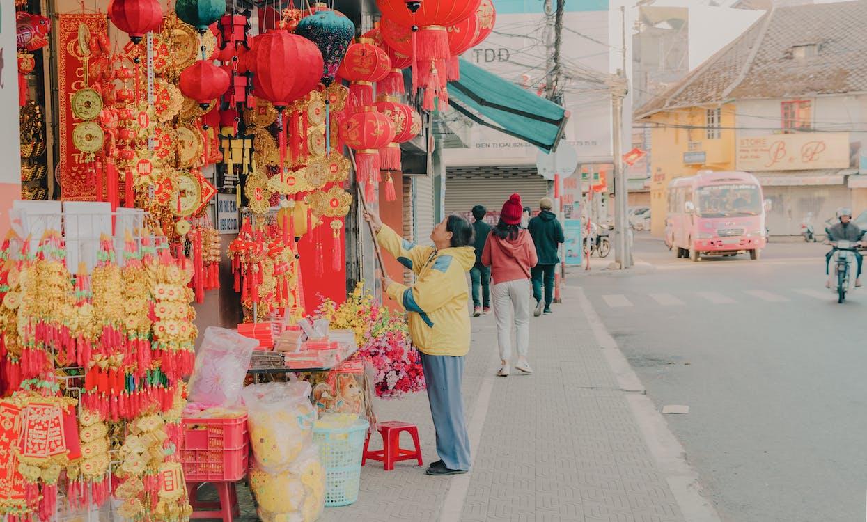 butiker, dagsljus, festival