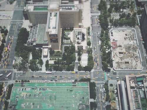 Free stock photo of bird's eye view, building, car, city center