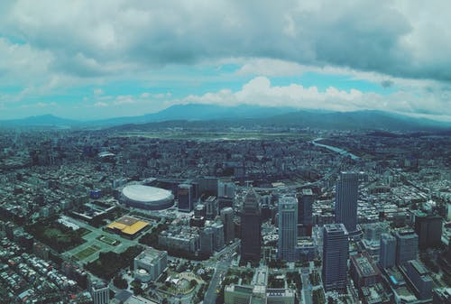 Free stock photo of bird's eye view, blue skies, blue sky, city