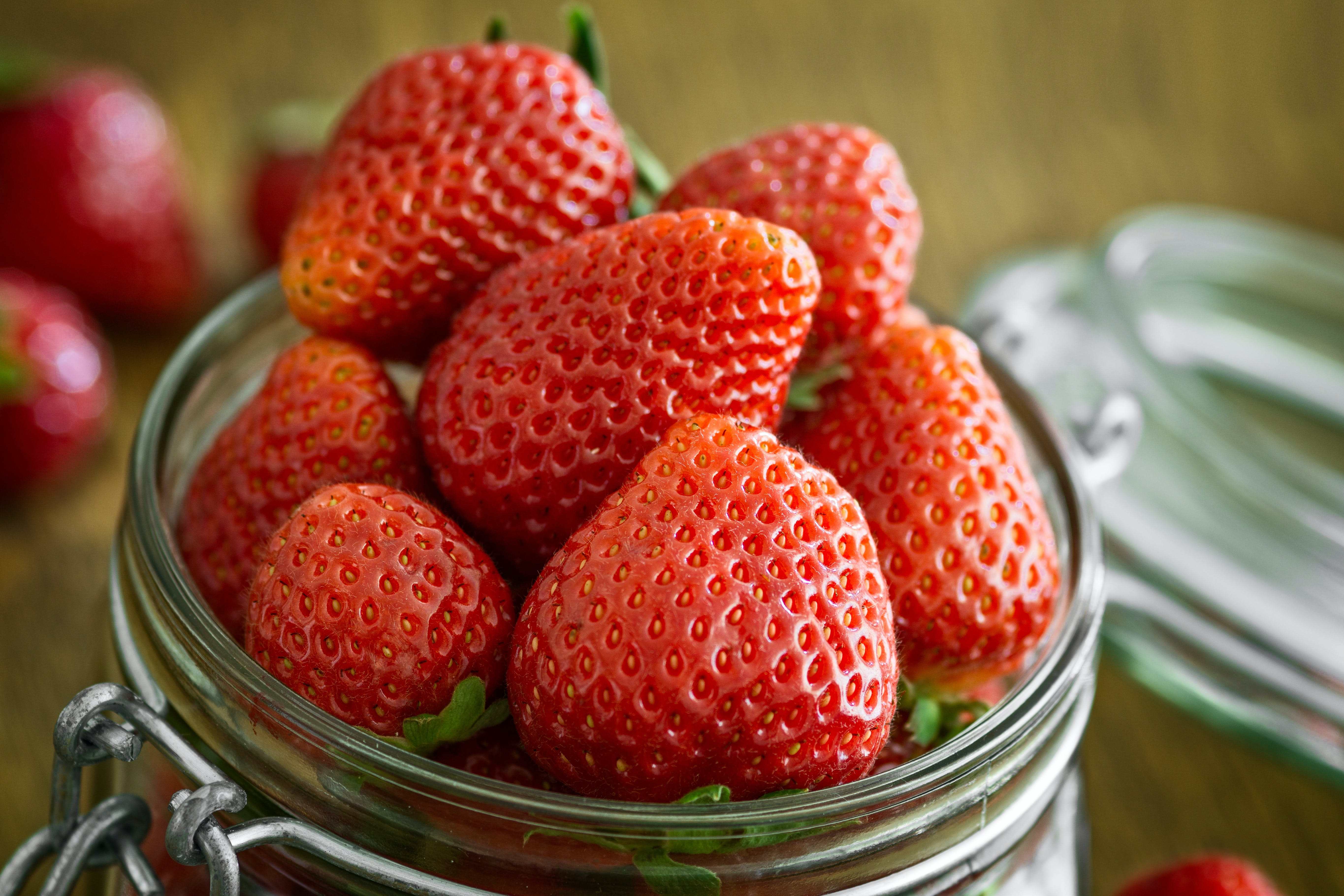 Strawberry in Glass Fido Jar