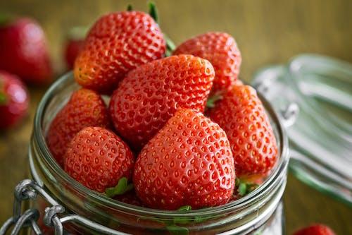 Imagine de stoc gratuită din borcan, căpșuni, crește, de lemn