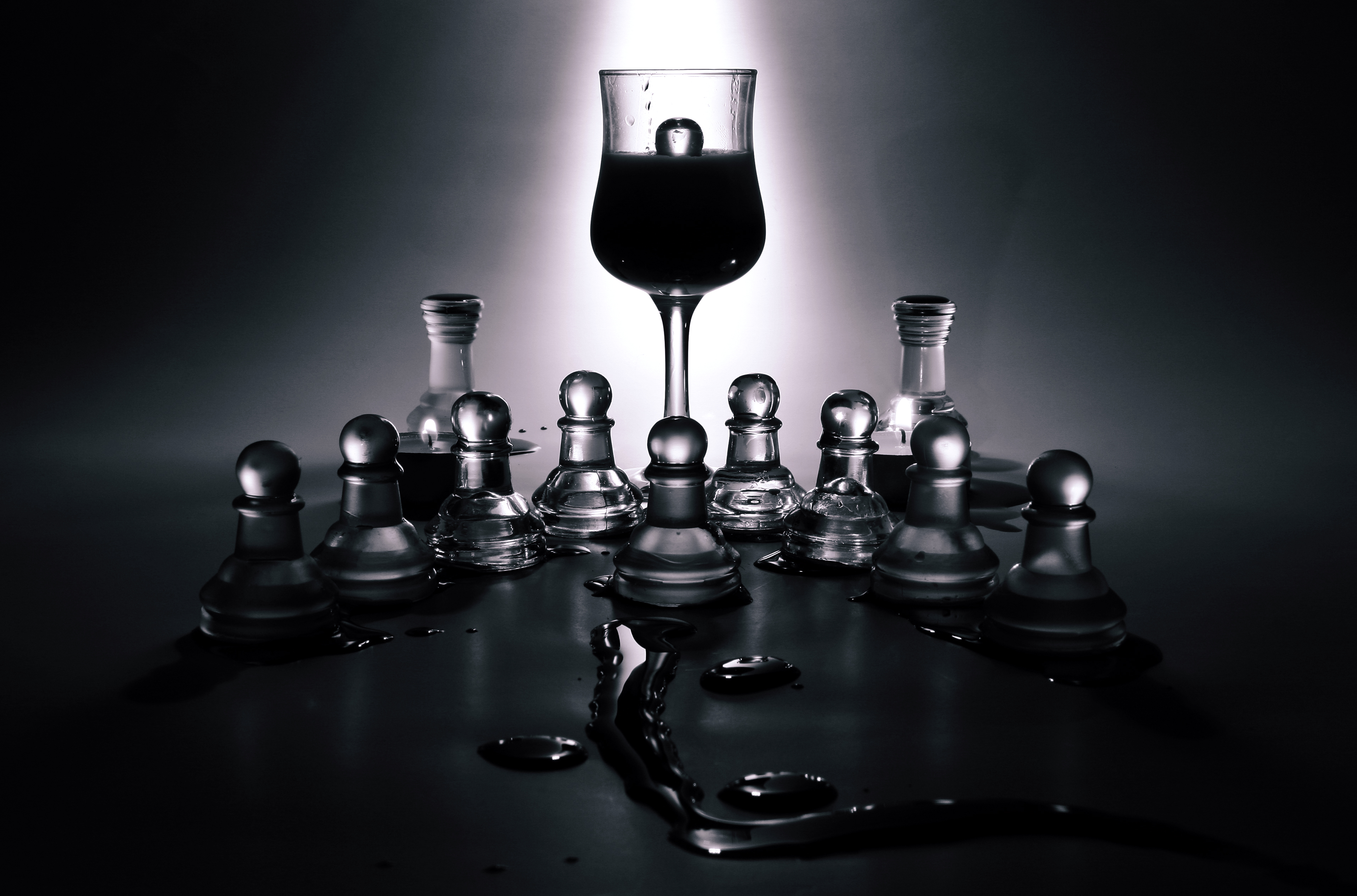 Free stock photo of black-and-white, glass, game, chess