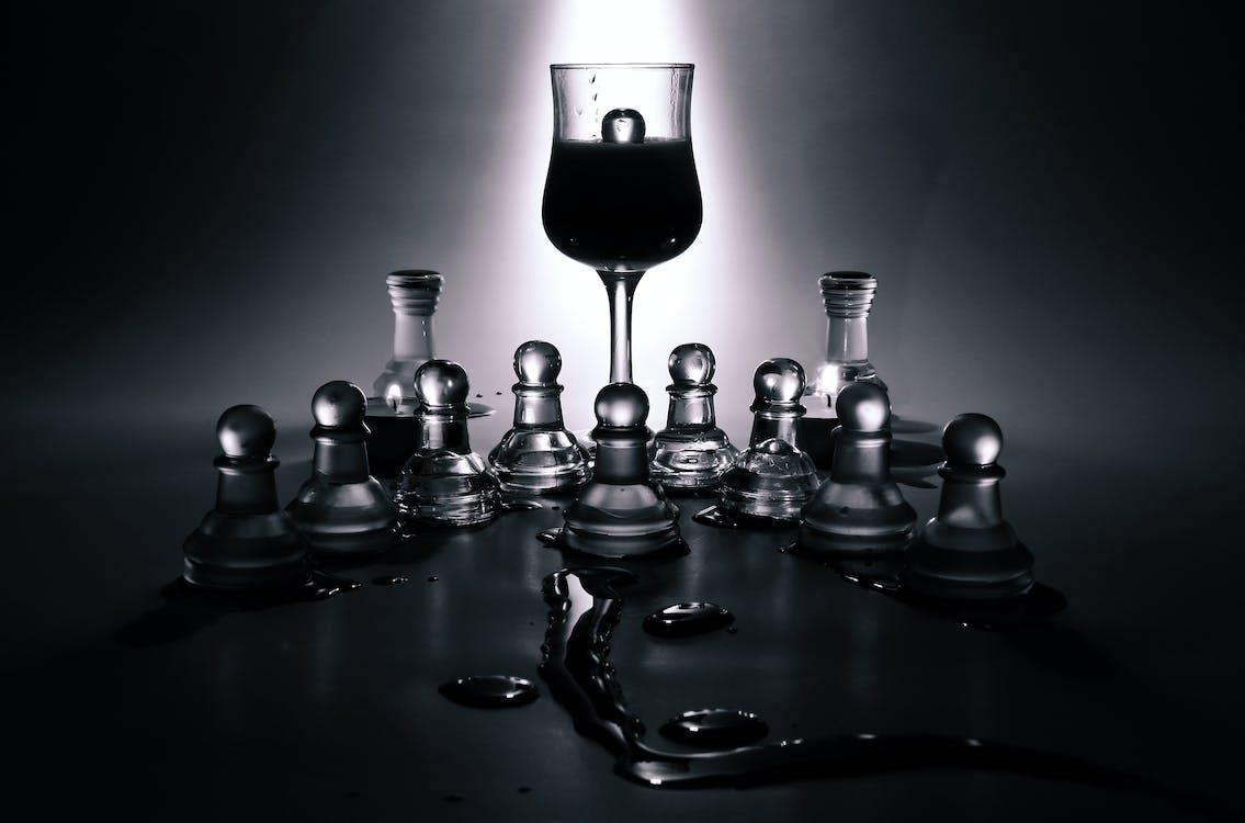 černobílý, hra, šachy