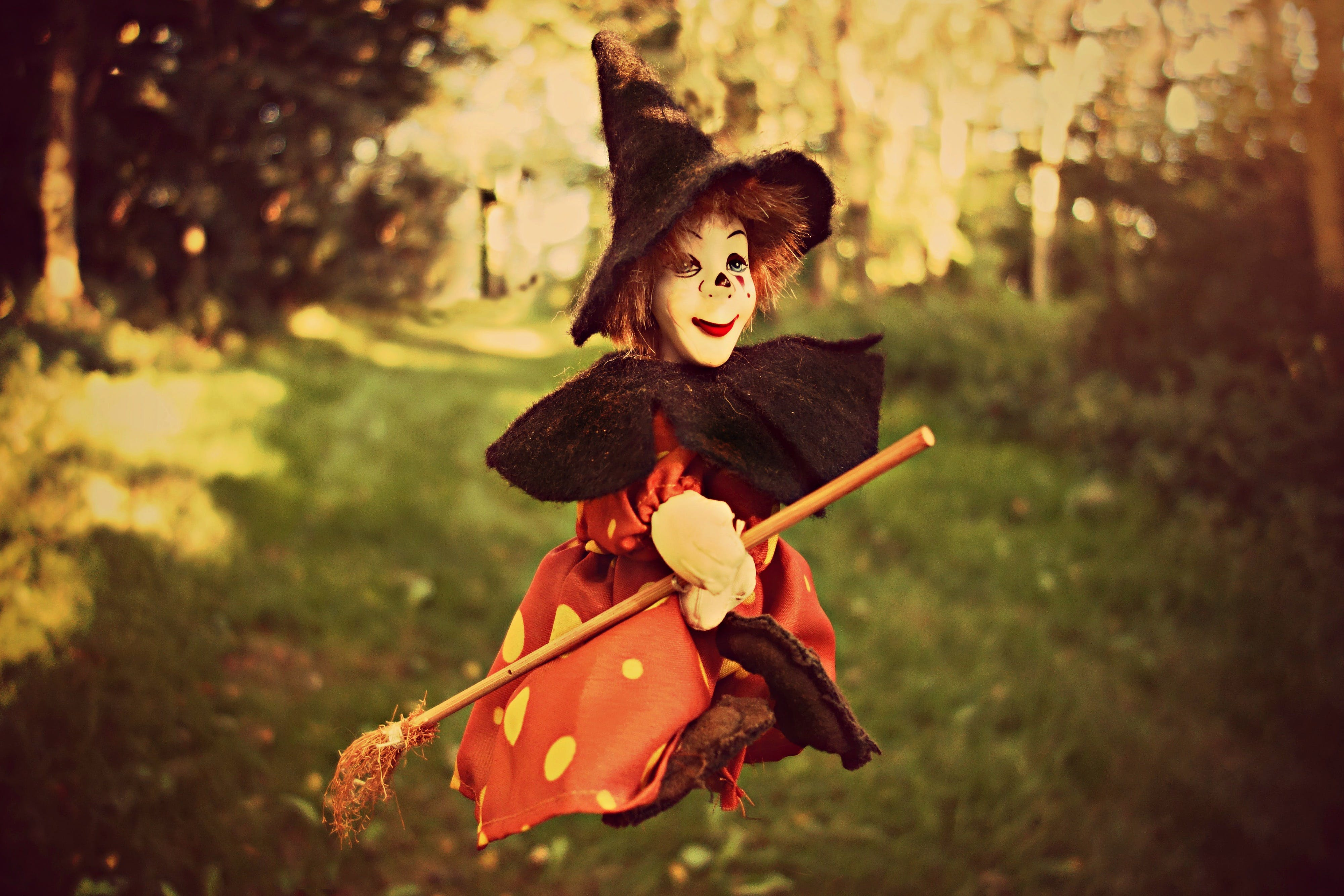 of broom, doll, forest, toy